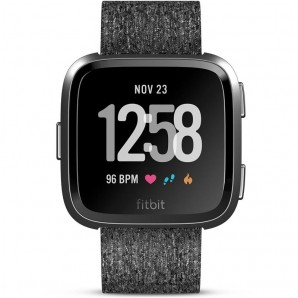 Fitbit Versa Smart Fitness Watch Special Edition (Charcoal with Woven Band)